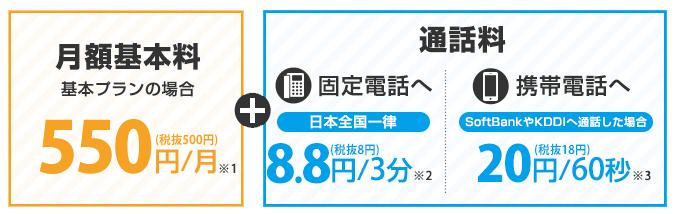【@T COM(アットティーコム)ヒカリ】ヒカリ電話の料金詳細